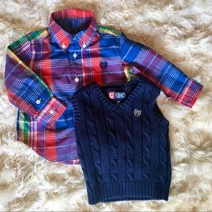 Chaps Sweater Vest & Shirt Set